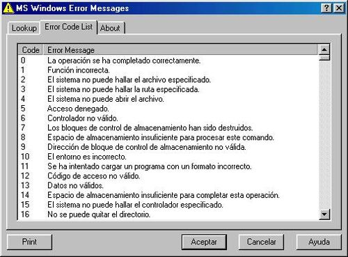 MS Windows Error Messages